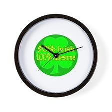 50% Irish, 100% Awesome Wall Clock