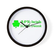 25% Irish, 100% Drunk Wall Clock