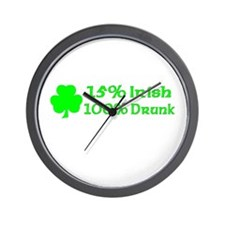 15% Irish, 100% Drunk Wall Clock