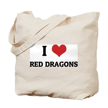 I Love Red Dragons Tote Bag
