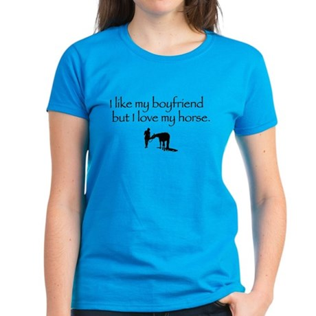 Like my Boyfriend Love My Horse Women's Dark T-Shi