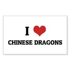 I Love Chinese Dragons Rectangle Decal