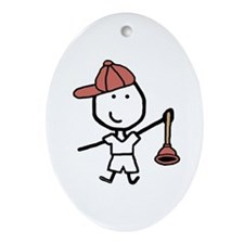Boy & Plumber Oval Ornament