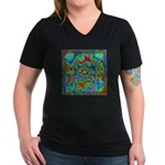 Fractal C~03 Women's V-Neck Dark T-Shirt