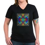 Fractal FR~16 Women's V-Neck Dark T-Shirt