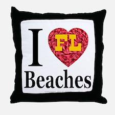I Love FL Beaches Throw Pillow