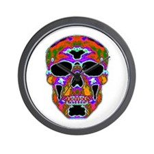 Psychedelic Skull Wall Clock