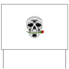 Rose in Teeth White Skull Yard Sign