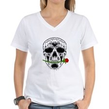 Rose in Teeth White Skull Shirt