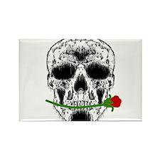 Rose in Teeth White Skull Rectangle Magnet