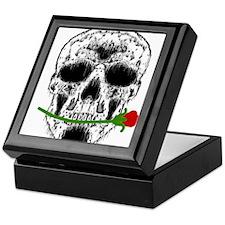 Rose in Teeth White Skull Keepsake Box