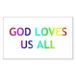 GOD LOVES US ALL Sticker (Rectangle 50 pk)