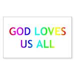 GOD LOVES US ALL Sticker (Rectangle 10 pk)