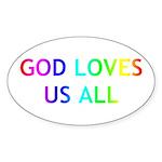 GOD LOVES US ALL Sticker (Oval 10 pk)