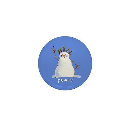 Snowman Peace Mini Button