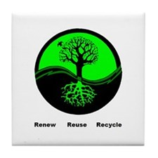 renew reuse recycle Tile Coaster