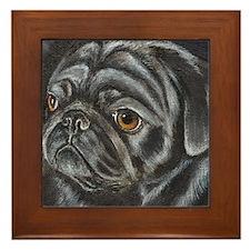 Black Pug Framed Tile
