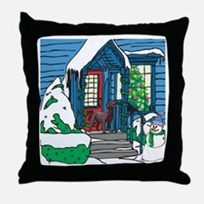 Welcome Chocolate Lab Throw Pillow