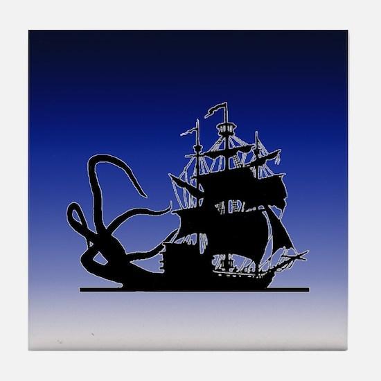 Pirate ship and Kraken Tile Coaster