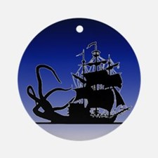 Pirate ship and Kraken Ornament (Round)
