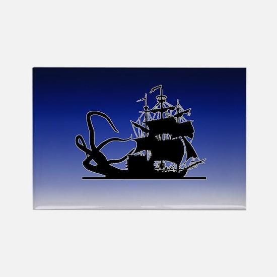 Pirate ship and Kraken Rectangle Magnet