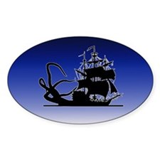 Pirate ship and Kraken Oval Decal