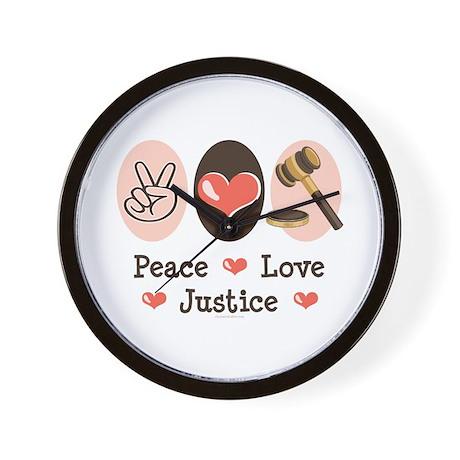 Peace Love Justice Judge Wall Clock
