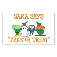 Sara Says Trick or Treat Rectangle Decal