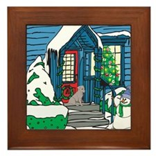 Welcome Black Lab Framed Tile
