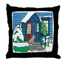 Welcome Black Lab Throw Pillow