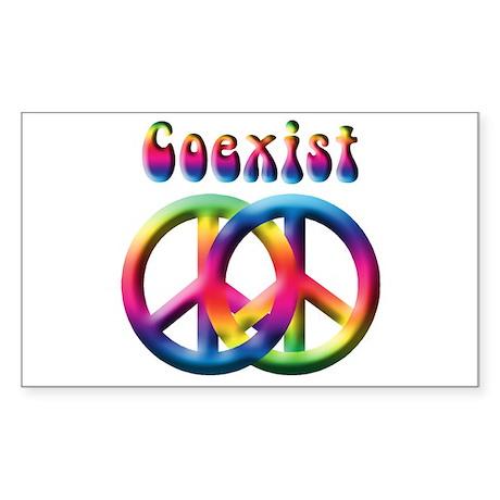 Coexist Peace Sign Rectangle Sticker