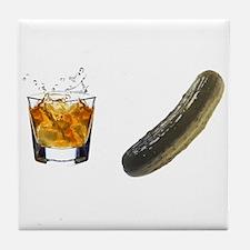 whiskey pickle Tile Coaster