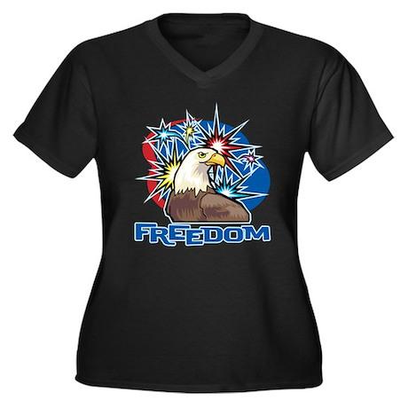 FREEDOM AMERICAN EAGLE Women's Plus Size V-Neck Da