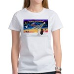 XmasSunrise/2 Std Poodles Women's T-Shirt