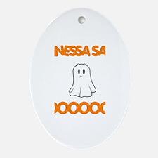 Vanessa Says Boo Oval Ornament