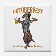 Dapple Oktoberfest Weiner Dog Tile Coaster