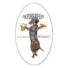 Dapple Oktoberfest Weiner Dog Oval Decal