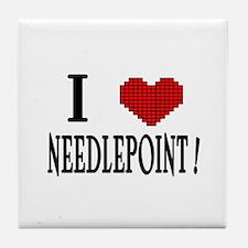 I love needlepoint! Tile Coaster