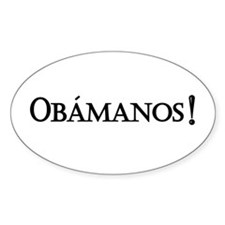 Obamanos_black letters Oval Decal