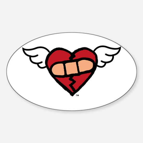 """""""Winged Heart"""" Oval Decal"""