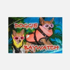 Doggie Baywatch Rectangle Magnet