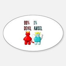 99% DEVIL 1% ANGEL Oval Decal