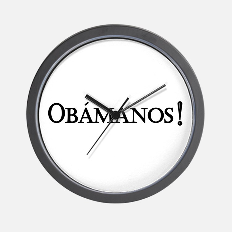 Obamanos_black letters Wall Clock