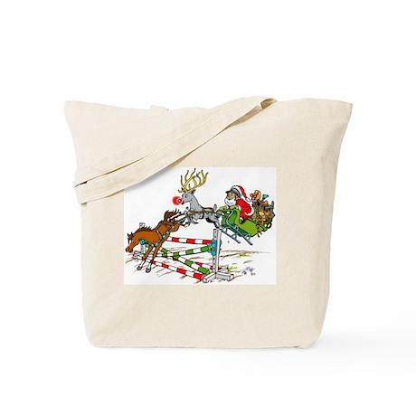 Santa Jumping Horse Jump Tote Bag