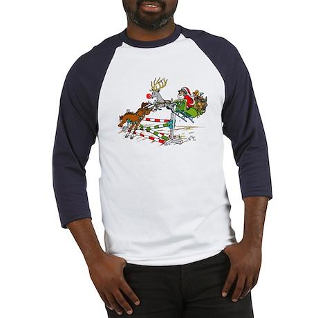 Santa Jumping Horse Jump Baseball Jersey