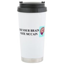 Use Your Brain, Vote McCain Travel Mug