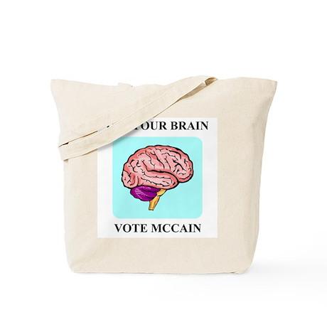 Use Your Brain, Vote McCain Tote Bag