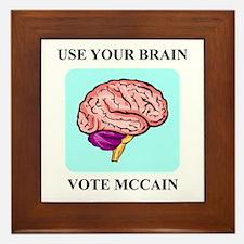 Use Your Brain, Vote McCain Framed Tile