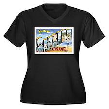Seaside Oregon OR Women's Plus Size V-Neck Dark T-