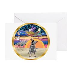 XmasStar/Cattle Dog Greeting Cards (Pk of 10)